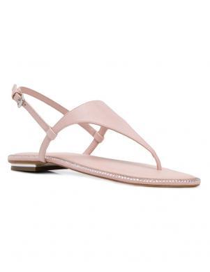 MICHAEL KORS sieviešu rozā ādas sandales pār pirkstu ENID