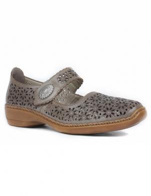 RIEKER sieviešu krēmīgas krāsas ādas perforēti apavi