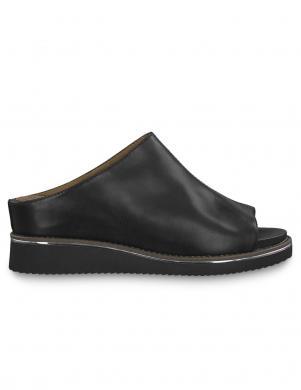 TAMARIS sieviešu melnas ādas sandales