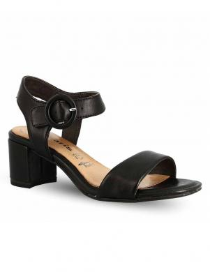 TAMARIS sieviešu melnas ādas zempapēžu sandales DESIE