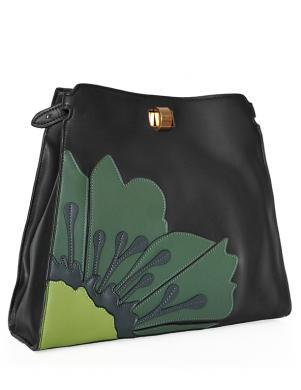 TOSCA BLU melna un zaļa sieviešu soma
