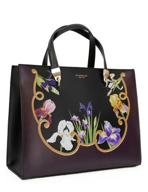 TOSCA BLU melna un violeta ādas sieviešu soma