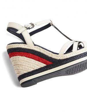 TOMMY HILFIGER sieviešu krēmīgas krāsas ādas sandales