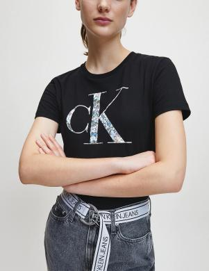 CALVIN KLEIN sieviešu melns krekls ar īsām piedurknēm