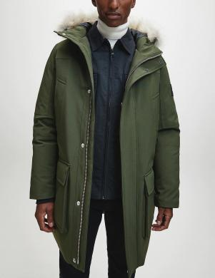 CALVIN KLEIN vīriešu tumši zaļa gara jaka ar kapuci