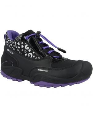 GEOX bērnu melni-violeti apavi NEW SAVAGE GIRL WP