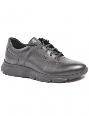 LA CONTE vīriešu melni ādas ikdienas apavi