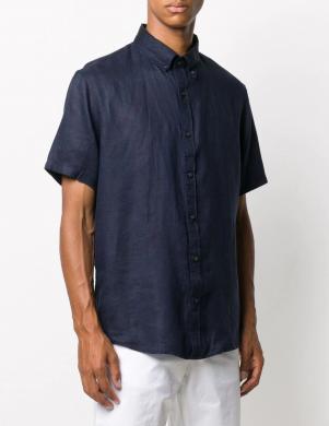 MICHAEL KORS vīriešu tumši zils lina krekls ar īsām piedurknēm