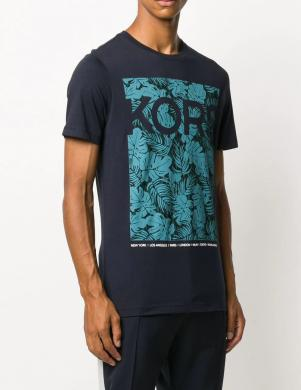 MICHAEL KORS vīriešu tumši zils krekls ar apdruku