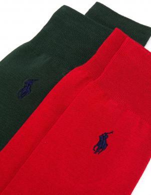 POLO RALPH LAUREN vīriešu sarkanas un zaļas zeķes, 2 gab.