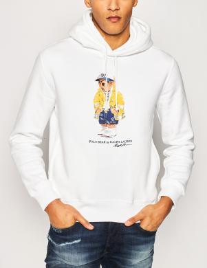 POLO RALPH LAUREN vīriešu balts džemperis ar kapuci