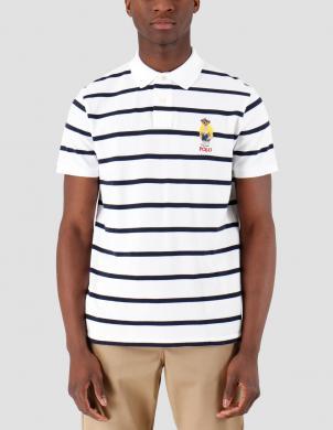 POLO RALPH LAUREN vīriešu balts pieguļošs polo tipa krekls