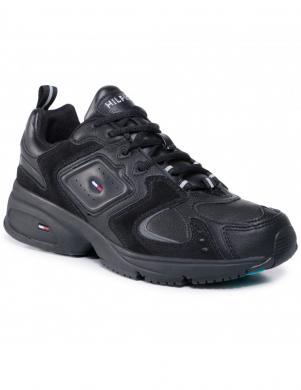 TOMMY JEANS vīriešu melni ikdienas apavi HERITAGE SEASONAL SNEAKER BLACK