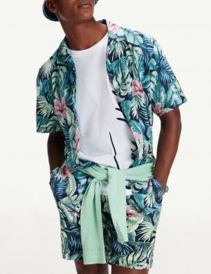 TOMMY HILFIGER vīriešu puķains krekls ar īsām piedurknēm