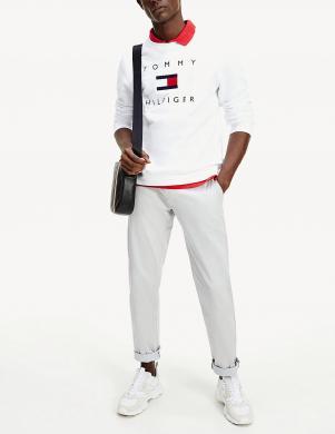 TOMMY HILFIGER vīriešu balts džemperis ar logotipu