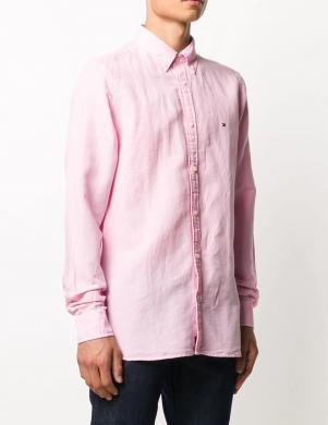 TOMMY HILFIGER vīriešu rozā krekls ar linu un garām piedurknēm
