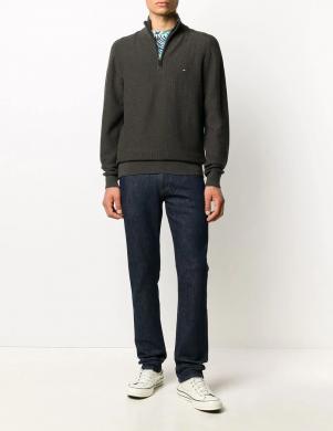 TOMMY HILFIGER vīriešu pelēks džemperis ar noņemamu apkakli