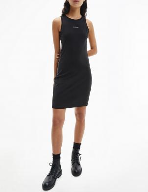 CALVIN KLEIN JEANS sieviešu melna pieguļoša kleita