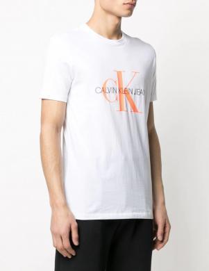 CALVIN KLEIN JEANS vīriešu balts krekls ar logotipu ar īsām piedurknēm