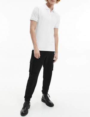 CALVIN KLEIN JEANS vīriešu balts Polo tipa krekls ar īsām piedurknēm