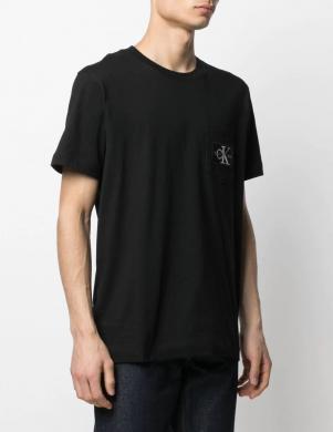 CALVIN KLEIN JEANS vīriešu melns krekls ar kabatu ar īsām piedurknēm