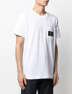 CALVIN KLEIN JEANS vīriešu balts krekls ar kabatu ar īsām piedurknēm