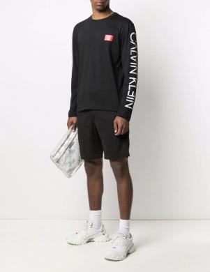 CALVIN KLEIN vīriešu melns kokvilnas krekls ar garām piedurknēm