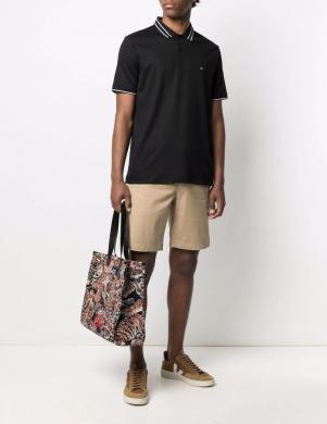 CALVIN KLEIN vīriešu melns kokvilnas krekls ar apkakli