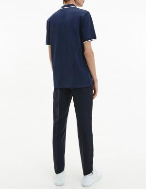 CALVIN KLEIN vīriešu tumši zils Polo tipa krekls ar īsām piedurknēm