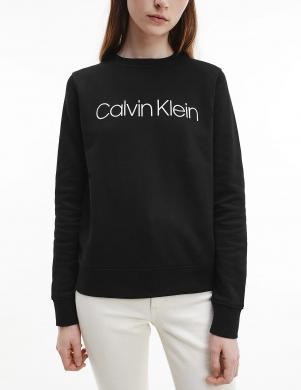 CALVIN KLEIN sieviešu melns kokvilnas džemperis