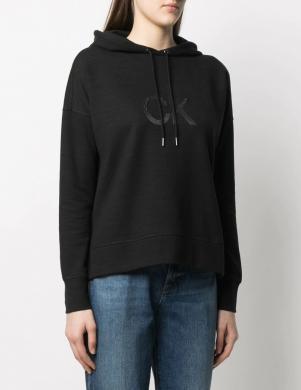 CALVIN KLEIN sieviešu melns džemperis ar kapuci