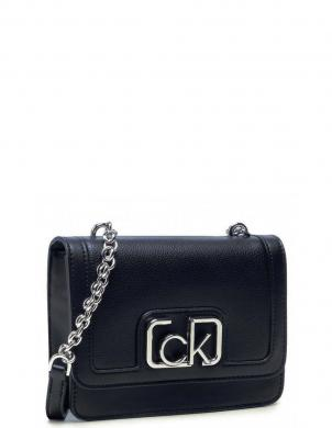 CALVIN KLEIN sieviešu melna soma pār plecu FLAP SHOULDER BAG