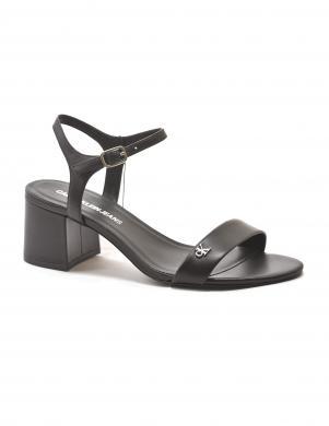 CALVIN KLEIN sieviešu melnas ādas augstpapēžu sandales HEEL SANDAL STRAP LTH