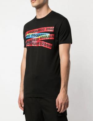 DSQUARED2 vīriešu melns krekls ar īsām piedurknēm