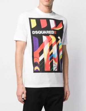 DSQUARED2 vīriešu balts krekls ar īsām piedurknēm