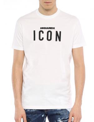 DSQUARED2 vīriešu balts krekls ar īsām piedurknēm ICON