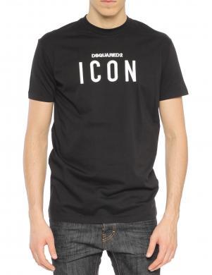 DSQUARED2 vīriešu melns krekls ar īsām piedurknēm ICON