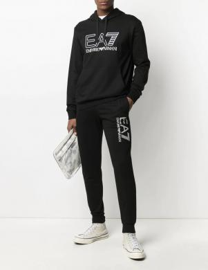EA7 vīriešu melns džemperis ar kapuci