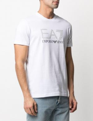 EA7 vīriešu balts krekls ar īsām piedurknēm