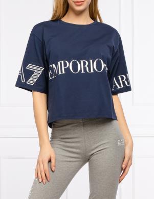 EMPORIO ARMANI sieviešu tumši zils plats krekls ar īsām piedurknēm