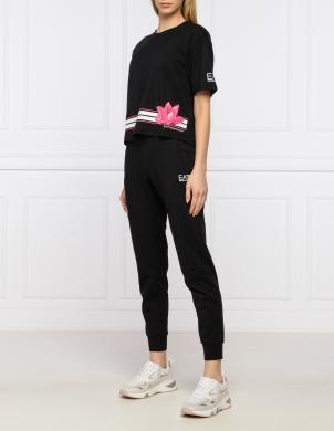 EA7 sieviešu melns krekls ar īsām piedurknēm