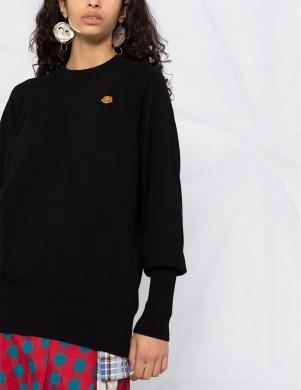 KENZO sieviešu melns kokvilnas džemperis
