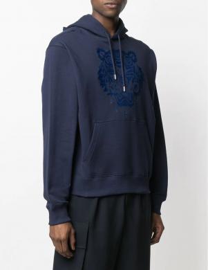 KENZO vīriešu tumši zils džemperis ar izšūtu logotipu
