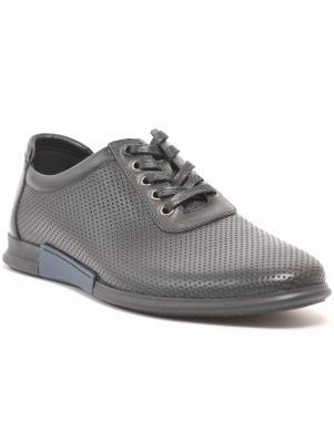 LA CONTE vīriešu melni ādas perforēti ikdienas apavi