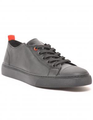 LA CONTE vīriešu melni ikdienas ādas apavi