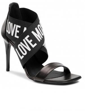 LOVE MOSCHINO sieviešu melnas augstpapēžu sandales