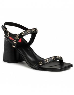 LOVE MOSCHINO sieviešu melnas ādas sandales