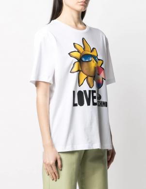 LOVE MOSCHINO sieviešu balts krekls ar sauli
