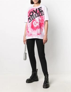 LOVE MOSCHINO sieviešu balts krekls ar uzrakstu