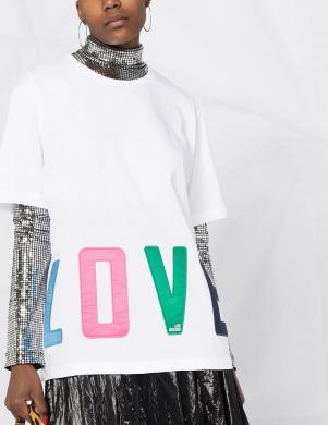 LOVE MOSCHINO sieviešu balts krekls ar uzrakstu LOVE